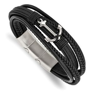 Leather Bracelet with Stainless Steel anchor